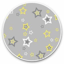 2 x Vinyl Stickers 30cm - Grey Yellow Star Pattern Print  #45254
