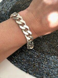 """925 STERLING SILVER UK HALLMARK 12MM Wide Chunky Cuban 8.5"""" Men's Chain Bracelet"""
