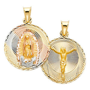 14K Yellow White Rose Solid Gold Jesus Virgin Mary Double Sided Charm Pendant
