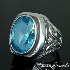 925 Sterling Silver Ring genuine Blue Topaz unique Mens Jewelry Ottoman Tulip