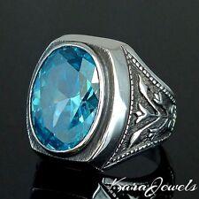 925 Sterling Silver Ring genuine Blue Topaz unique Mens Jewelry Ottoman Tulip