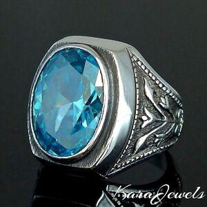 925 Sterling Silver Ring Swiss Blue Topaz unique Mens Jewellery Ottoman Tulip
