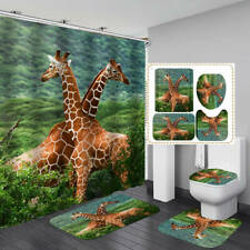 Giraffe Shower Curtain Bath Mat Toilet Cover Rug Bathroom Decor