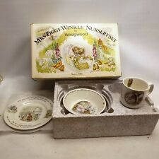 More details for wedgwood 1980s mrs tiggy winkle beatrix potter nursery set bowl cup plate boxed