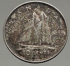 1946 CANADA King George VI - Silver 10 Cent SILVER Coin - BLUENOSE SHIP i56776