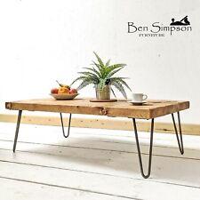 Rustic Coffee Table Chunky Solid Wood Metal Hairpin Legs BEN SIMPSON FURNITURE