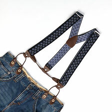 Unisex Suspender Adjustable Braces Leather Button Holes Diamond Plaids BD759