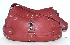 NEW MOONSUS RED GENUINE LEATHER HOBO TOTE SHOULDER HANDBAG EVENING BAGUETTE