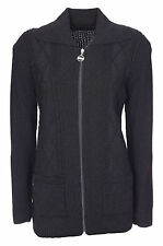 Zip Cardigan for Womens Zipped Cable Knit Long Sleeve Jumper Ladies Size 10-24
