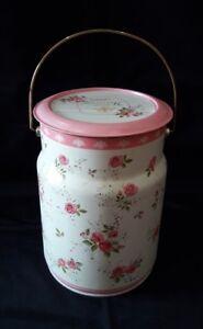 Country Vintage LovePink Rose Floral Tin Jar Storage Round Cake Biscuit Cookies