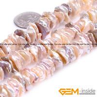 "Natural Freshwater Baroque Reborn Keshi Biwa Pearl Beads For Jewelry Making 15"""