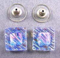 "DICHROIC GLASS Post EARRINGS 1/2"" 12mm Clear Moonstone Blue Cyan Orange Ripple"