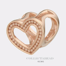 Authentic Endless Silver Rose Gold Plated Heart Dots Gold Bead 61301
