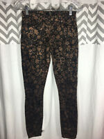 7FAMK 7 For All Mankind Size 25 0 Brown Corduroy Pants Gold Flowers Skinny Slim