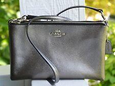 NWT Authentic Coach Lyla Gunmetal Leather Metallic Crossbody Clutch Bag 56132