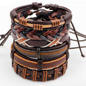 6 Pcs Set Brown and Coffee Braided Leather Men Women Cuff Wristband Bracelet
