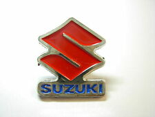Suzuki V2 motorcycle pin badge. Red Blue and Silver. Lapel badge