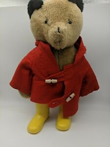 "Paddington Bear Eden Plush Red Coat Yellow Boots 1977 vintage 18"""