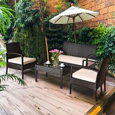 4 Pcs Patio Furniture Sets Rattan Chair Wicker Set Garden Outdoor Bistro Summer+