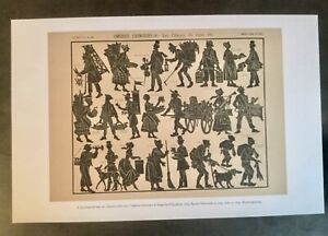 """Repro antique 1890 French Silhouette Wood Engraving""""Street Criers""""Vendors PRINT"""