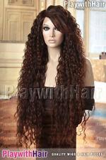 WOW! Super HOT Long Lace Front Wig Black & Auburn Tips