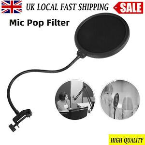 UK Studio Microphone Mic Wind Screen  Gooseneck Shield Pop Filter Double Layer
