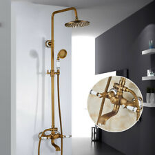 "Antique Brass Shower Faucet 8"" Round Rainfall shower head Stacks Handheld Shower"