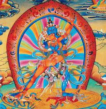 "RARE! 48"" BLESSED WOOD SCROLL TIBET THANGKA:CHAKRASAMVARA, WHEEL REVERSE TIME! ="