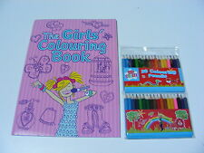 CHILDRENS KIDS THE GIRLS COLOUR / COLOURING BOOK & 36 HALF SIZE COLOUR PENCILS
