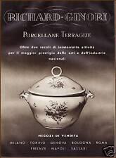 PUBBLICITA' 1942 RICHARD GINORI ZUPPIERA PORCELLANA TERRAGLIE CERAMICA GIO PONTI