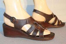 7.5 Nos Vtg 1970s Sandal Shoe Wood Wedge Block Heel Brown Leather 3-Strap Woven