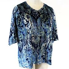 Catherines Plus Size Blue Floral Velvet Fall Winter Top Blouse 2X,22/24
