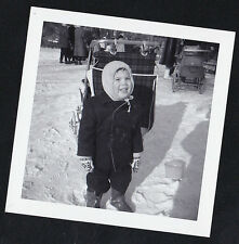 Vintage Antique Photograph Adorable Little Boy Standing By Baby Carriage in Snow
