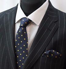 Tie Cravatta Con Fazzoletto Blu & Giallo Floreale