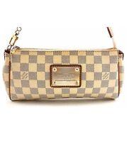 Authentic LOUIS VUITTON Damier Azur Canvas Eva Clutch Crossbody Bag SP0048