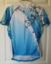 Primal Wear Womens L 3/4 Zip Short Sleeve White/Blue/ With Bird Cycling Jersey