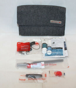 Air Canada Business Class Tweed In Flight Travel Amenity Bag Pouch Grey Gray Red