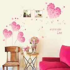 Girl Pink Love Hearts Wall Sticker Decal Vinyl Art Home Decor Removeable JW