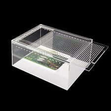 Acrylic Reptile Habitat Setup Aquarium Tank Kit Lid Bask Lamp Turtle Frog 12''