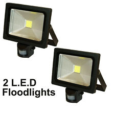 2 x LED PIR Security Motion Detector Outside Lamp Floodlight Light 20W Black