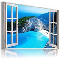 GREECE ZAKYNTHOS ISLAND SEA Window View Canvas Wall Art Picture Large W41 MATAGA