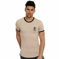 NEW MENS GYM KING LONGLINE T SHIRT TEE FITTED CREW NECK T-SHIRT BEIGE MOCHA