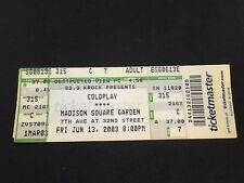 COLDPLAY Concert Ticket Stub. Madison Square Garden. June 13th, 2003.  6/13/03.