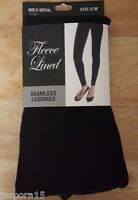 Gold Medal NWT Woman's Black Fleece Lined Seamless Leggings Size S/M 90-135 lbs