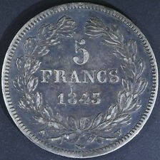 France 5 FRANCS ARGENT LOUIS PHILIPPE 1843 W - Nice VF+