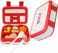 Bizz Bento Box Leakproof Meal Prep Lunchbox with Reusable Fork-Spoon, Dishwasher
