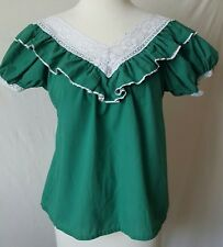 Classic Vintage Green Mexican Fiesta Blouse S/M Mexican Peasant Retro Blouse