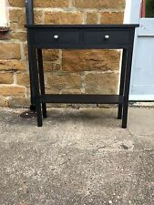 BESPOKE H90 W100 D27cm CONSOLE HALL BATHROOM TABLE 2 DRAWER 1 SHELF BLACK SATIN