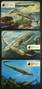 3pc Dinosaur Plesiosauria Prehistoric animals Paleontological Museum Russia card