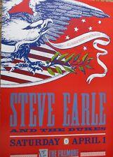 STEVE EARLE FILLMORE POSTER & The Dukes Original Bill Graham F86 Arlene Owseichi